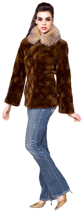 Bark dyed sculptured sheared mink jacket with crystal dyed fox collar - Item # SM0102