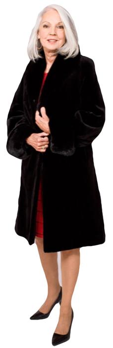 Black sheared mink city coat reversible to taffeta with ranch mink collar/turn back cuff - Item # SM0113