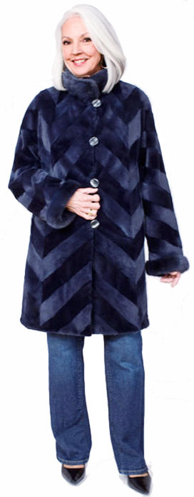 Navy chevron reversible sheared mink stroller with Dyed-To-Match mink collar/band cuff - Item # SM0114