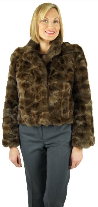 """Natural Russian Sable sections 21"""" jacket. Item # VD-13"""