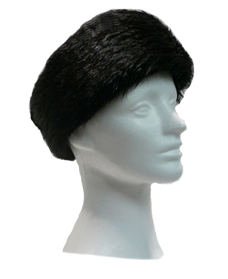 Ebony dyed beaver headband - Item # AC0095