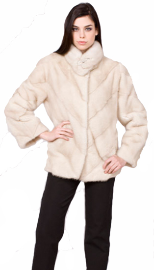 Natural pearl directional mink jacket - Item # MI0065