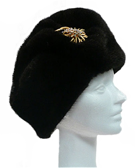 Ranch mink hat with pin - Item # AC0070
