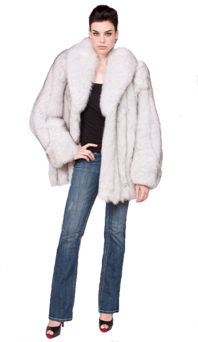 Natural blue fox jacket - Item # LU0036