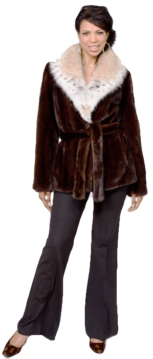 Natural mahogany female mink jacket with cat lynx collar - Item # MI0057