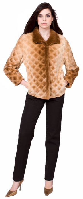 Cognac dyed sheared and grooved beaver jacket - Item # SB0082