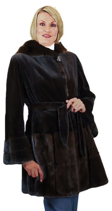 Sheared Dyed Black Mink Stroller With Double Fur Hood & Mahogany Mink Inserts - Item # SM0001