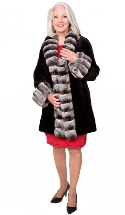Black sheared mink stroller with natural chinchilla cross-cut collar/ tuxedo/turn back cuffs - Item # SM0109