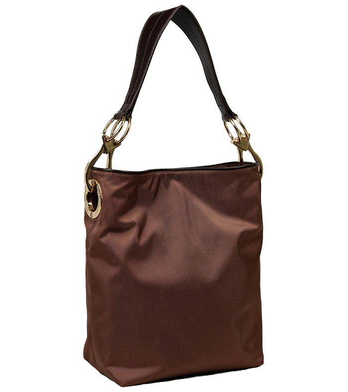 Nylon Bucket Bag - Coffee