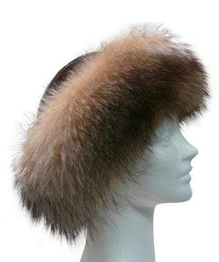Crystal dyed fox with a brown patent leather crown - Item # AC0068