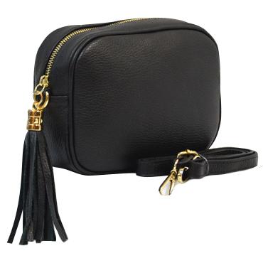 Woman Leather Cross Body Bag - Vera - Black