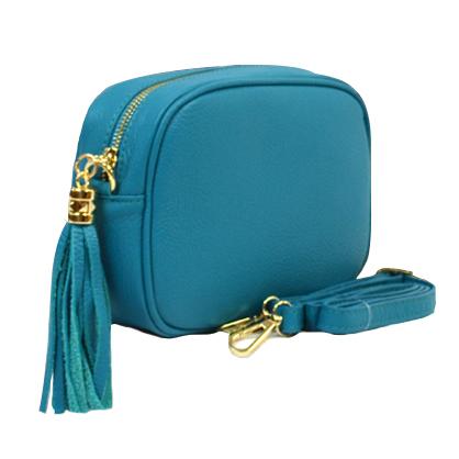 Woman Leather Cross Body Bag - Vera - Celeste