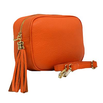 Woman Leather Cross Body Bag - Vera - Orange