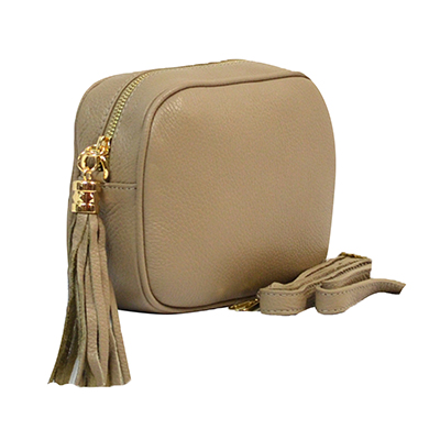 Woman Leather Cross Body Bag - Vera - Taupe