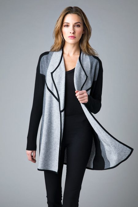 Color Block Cardigan - Black, Sterling, Pewter