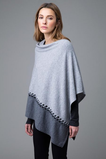 Twist Stitch Color Block Poncho - Sterling and Pewter
